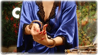 Bondage photo pic picture Sophia Smith barefoot, satin, handcuffs, brunette, leg irons, lingerie, nude, nude in metal, thumbcuffs, toecuffs
