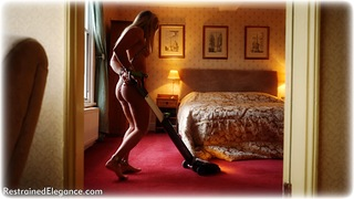 Bondage photo pic picture Tillie barefoot, bedroom, blonde, shackles, sm factory, leg irons, chains, collar, nude, nude in metal
