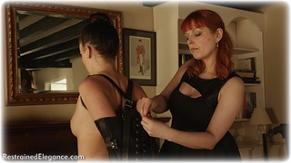 Bondage photo pic picture Sophia Smith and Temptress Kate girlgirl, barefoot, single glove, brunette, leather bondage, lesbian, nude, dress, ungagged, redhead