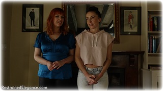 Bondage photo pic picture Sophia Smith and Temptress Kate satin, barefoot, jeans, brunette, redhead, rope bondage
