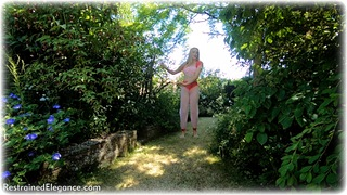 Bondage photo pic picture Ariel Anderssen barefoot, harem, blonde, stocks, outdoor, dungeon