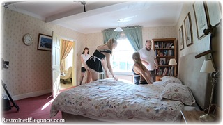 Bondage photo pic picture Natalia Forrest, Ariel Anderssen and Zoe Page barefoot, metal bondage, documentary, uniform