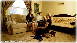 Bondage photo pic picture Rachel Adams and Ariel Anderssen ballgag, barefoot, hogtie, brunette, documentary, dress, reverse prayer, rope bondage