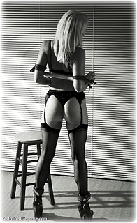Bondage photo pic picture Abigail Toyne rope bondage, shoes, leather bondage, silk, spreader bar, cloth gag, stockings