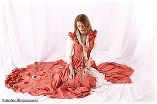 Bondage photo pic picture Zoe ballgown, barefoot, shackles, leg irons, chains, medieval, metal bondage, collar