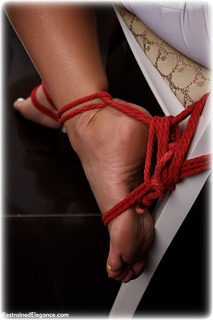 Bondage photo pic picture Aisha rope bondage, barefoot, satin, blouse, silk, brunette, skirt, lingerie, cloth gag, thriller, pencil skirt, ungagged