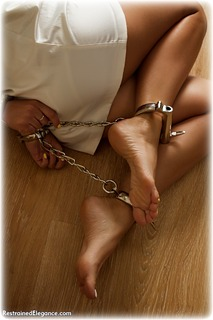 Bondage photo pic picture Aisha barefoot, satin, handcuffs, hogtie, silk, brunette, leg irons, cloth gag, metal bondage, dress