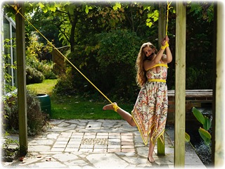 Bondage photo pic picture Alais Peach rope bondage, barefoot, bit gag, brunette, outdoor, dress, ungagged
