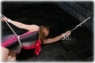 Bondage photo pic picture Amy Allen ballgown, rope bondage, barefoot, satin, silk, cloth gag