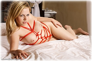 Bondage photo pic picture Amy Allen rope bondage, barefoot, cloth gag, nude, crotch rope