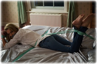 Bondage photo pic picture Angel Price rope bondage, barefoot, bedroom, blonde, blouse, jeans, tape gag, topless, ungagged