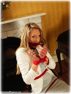 Bondage photo pic picture Angel Price rope bondage, barefoot, blonde, business wear, cloth gag, dress, ungagged