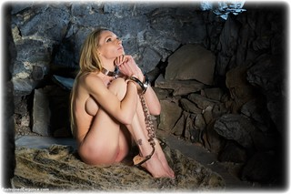 Bondage photo pic picture Angel Price barefoot, handcuffs, blonde, leg irons, metal bondage, nude, dungeon