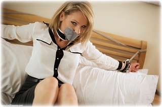 Bondage photo pic picture Angel Price rope bondage, barefoot, blonde, blouse, skirt, business wear, leather bondage, collar, tape gag, ungagged