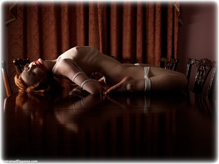 Bondage photo pic picture Anita deBauch rope bondage, barefoot, satin, silk, cloth gag, nude, frogtie