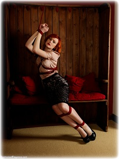 Bondage photo pic picture Anita deBauch barefoot, rope bondage, bit gag, satin, blouse, shoes, humiliation, silk, skirt, lingerie, pencil skirt, ungagged, redhead