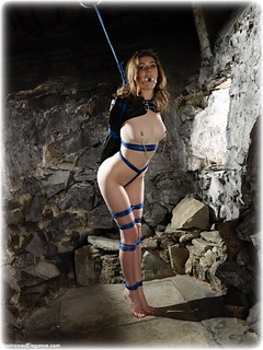 Bondage photo pic picture Aria Wednesday ring gag, rope bondage, barefoot, nipple clamps, crotch rope, nude, drama, dungeon