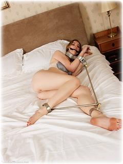 Bondage photo pic picture Aria Wednesday and Ariel Anderssen girlgirl, barefoot, bastinado, bedroom, bit gag, blonde, humiliation, brunette, sm factory, leg irons, spreader bar, lesbian, lingerie, metal bondage, ungagged, fiddle, riding crop