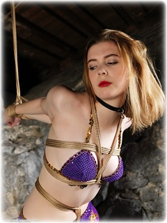 Bondage photo pic picture Aria Wednesday ballgag, rope bondage, barefoot, harem, brunette, strappado, ungagged, dungeon