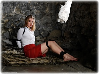 Bondage photo pic picture Aria Wednesday ballgag, barefoot, rope bondage, blouse, brunette, skirt, business wear, dungeon, pencil skirt, ungagged