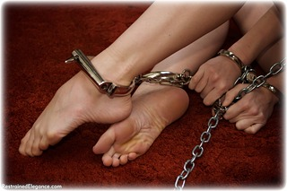 Bondage photo pic picture Ariel Anderssen barefoot, handcuffs, blonde, sm factory, leg irons, chains, metal bondage, collar, ungagged