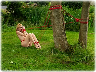 Bondage photo pic picture Ariel Anderssen rope bondage, barefoot, humiliation, nude, outdoor, crotch rope, ungagged
