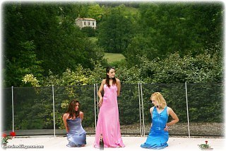 Bondage photo pic picture Ariel Anderssen, Sabrina and Hannah ballgown, girlgirl, barefoot, handcuffs, humiliation, metal bondage, collar, outdoor