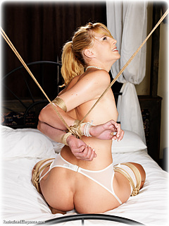 Bondage photo pic picture Ariel Anderssen humiliation, cane, lingerie, stockings, strappado, nude, corporal punishment, topless, rope bondage