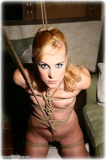 Bondage photo pic picture Ariel Anderssen rope bondage, barefoot, nude, crotch rope