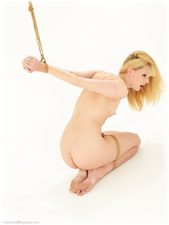 Bondage photo pic picture Ariel Anderssen barefoot, blonde, strappado, nude, ungagged, rope bondage