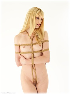 Bondage photo pic picture Ariel Anderssen barefoot, rope bondage, blonde, nude, crotch rope, ungagged