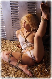 Bondage photo pic picture Ariel Anderssen rope bondage, barefoot, lingerie, topless, ungagged