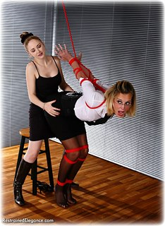 Bondage photo pic picture Ariel Anderssen and Chanta Rose girlgirl, rope bondage, blouse, humiliation, shoes, lesbian, stockings, strappado, topless