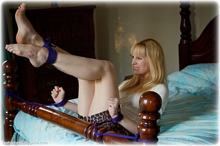 Bondage photo pic picture Ariel Anderssen rope bondage, barefoot, bedroom, blonde, shoes, skirt, sweater