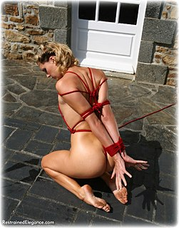 Bondage photo pic picture Ariel Anderssen rope bondage, barefoot, slave training, nude, crotch rope, outdoor