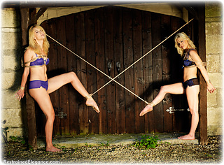Bondage photo pic picture Ariel Anderssen and Paige Robbins barefoot, lingerie, outdoor, girlgirl, rope bondage