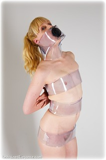 Bondage photo pic picture Ariel Anderssen barefoot, blonde, cock gag, nude
