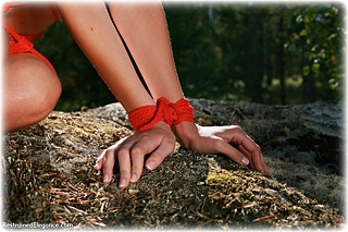 Bondage photo pic picture Ariel Anderssen rope bondage, barefoot, nude, crotch rope, outdoor