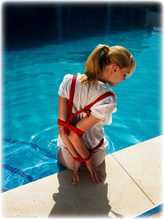 Bondage photo pic picture Ariel Anderssen ballgag, rope bondage, barefoot, blonde, topless, ungagged