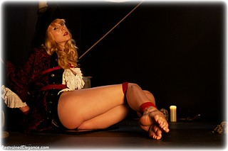 Bondage photo pic picture Ariel Anderssen rope bondage, barefoot, shackles, humiliation, silk, leg irons, chains, cloth gag, metal bondage, collar, corporal punishment, nude, ungagged
