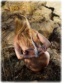 Bondage photo pic picture Ariel Anderssen rope bondage, barefoot, nude, outdoor, ungagged