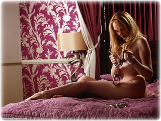 Bondage photo pic picture Ariel Anderssen barefoot, bedroom, handcuffs, blonde, self bondage, leg irons, metal bondage, nude, ungagged