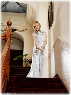 Bondage photo pic picture Ariel Anderssen ballgown, barefoot, satin, shackles, silk, leg irons, chains, metal bondage, collar, ungagged
