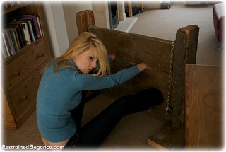 Bondage photo pic picture Ariel Anderssen barefoot, bastinado, humiliation, jeans, tickle, tickling, riding crop, stocks