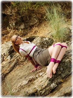 Bondage photo pic picture Ariel Anderssen rope bondage, barefoot, glasses, blonde, blouse, skirt, outdoor, topless, ungagged, uniform
