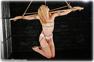 Bondage photo pic picture Ariel Anderssen rope bondage, lingerie, stockings, suspension, nude, ungagged