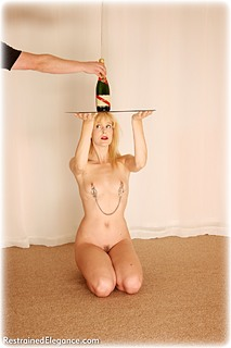 Bondage photo pic picture Ariel Anderssen barefoot, humiliation, slave training, nipple clamps, nude, ungagged