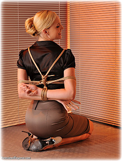 Bondage photo pic picture Ariel Anderssen rope bondage, barefoot, satin, bit gag, blouse, shoes, silk