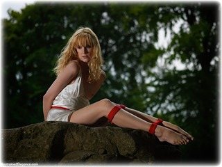 Bondage photo pic picture Ariel Anderssen rope bondage, barefoot, satin, blonde, silk, outdoor, dress, topless, ungagged