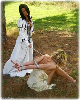 Bondage photo pic picture Ariel Anderssen and Sabrina girlgirl, rope bondage, barefoot, satin, humiliation, lesbian, nude, outdoor